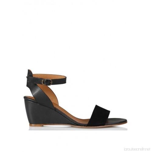 Sandale compensée noir cuir