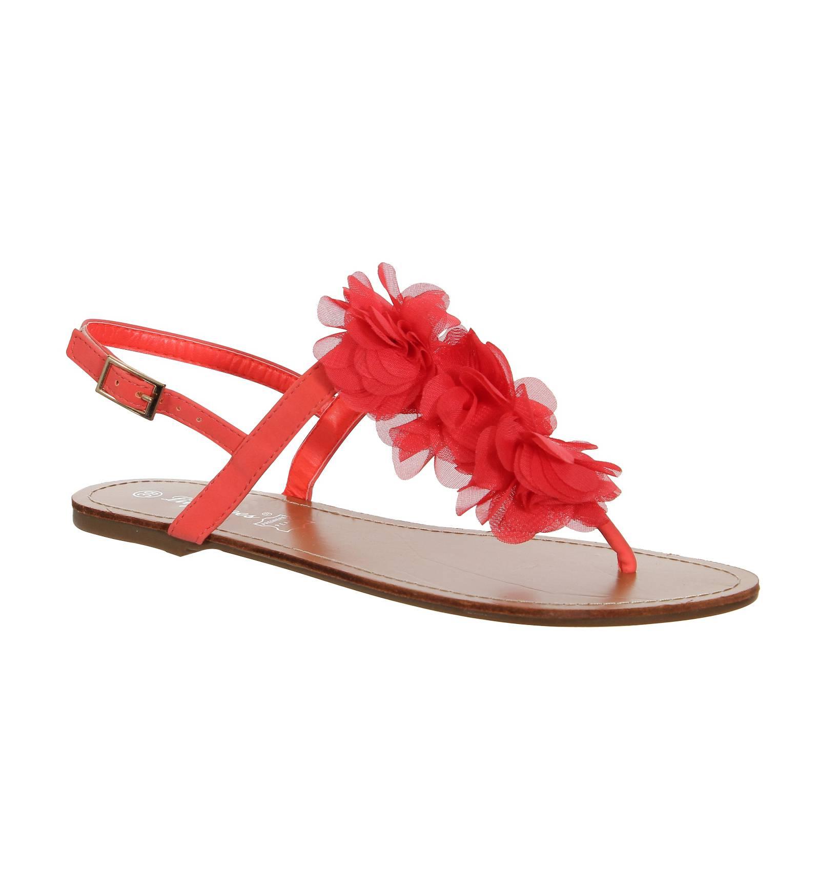 Sandale plate femme fleur