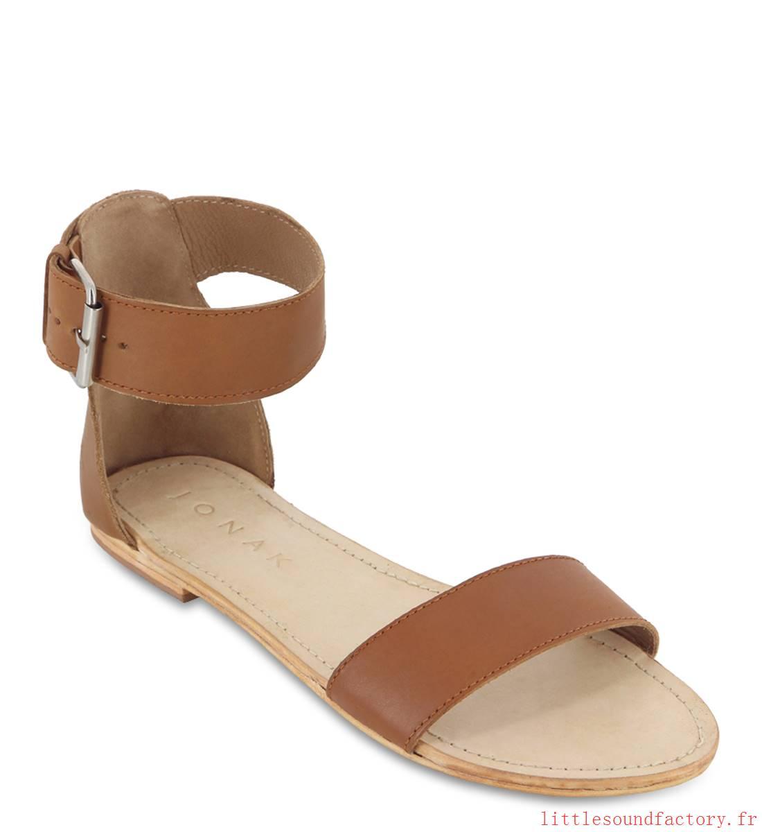 Sandale femme plate camel
