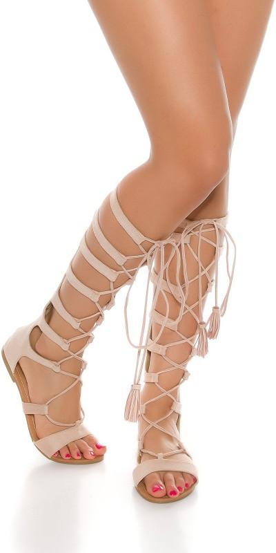 Sandale femme plate a lacet