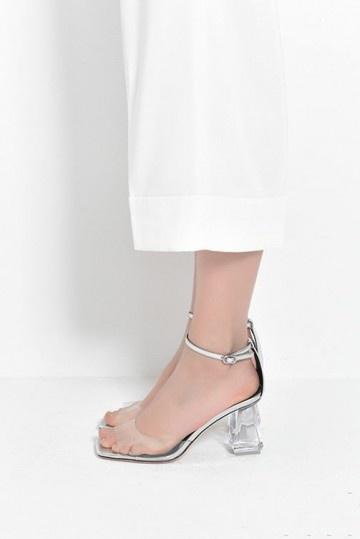 Sandale femme talon transparent